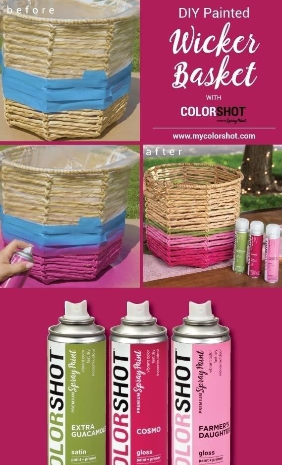 COLORSHOT Spray Painted Wicker Basket
