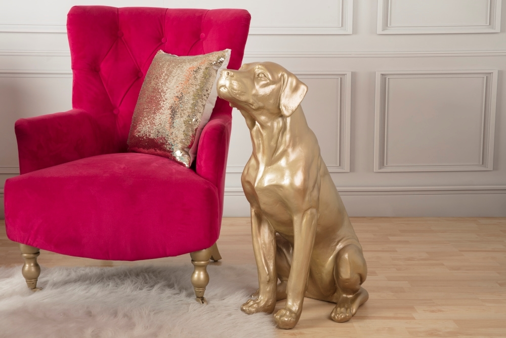 COLORSHOT Gold Dog Statue in progress