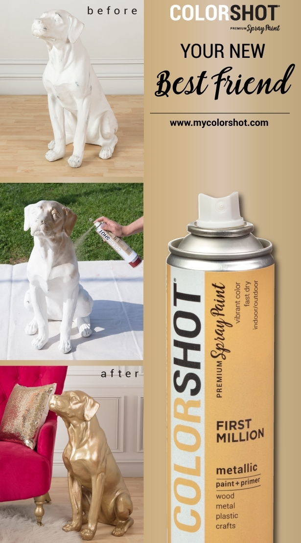 COLORSHOT Spray Painted Dog Statue