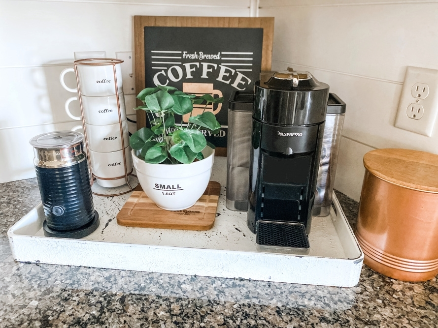 COLORSHOT Coffee Station Makeover: Distressed Tray - coffee station