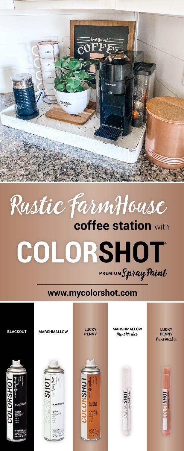 COLORSHOT Rustic Farmhouse Coffee Station Makeover
