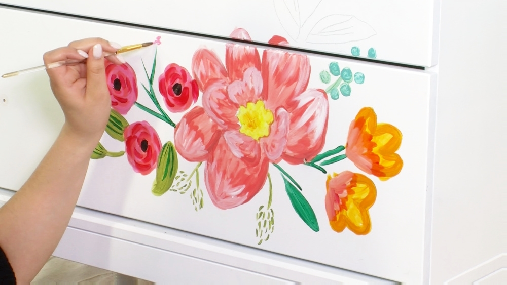 COLORSHOT Floral Dresser DIY - paint designs
