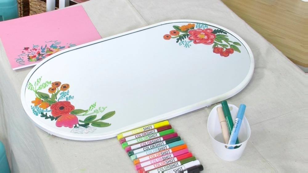 COLORSHOT Floral Mirror DIY - add details