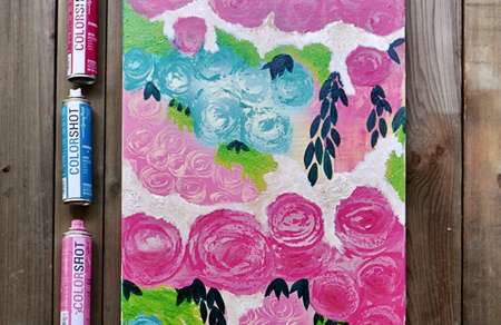 Picture of Flower Spray Paint Art Technique color