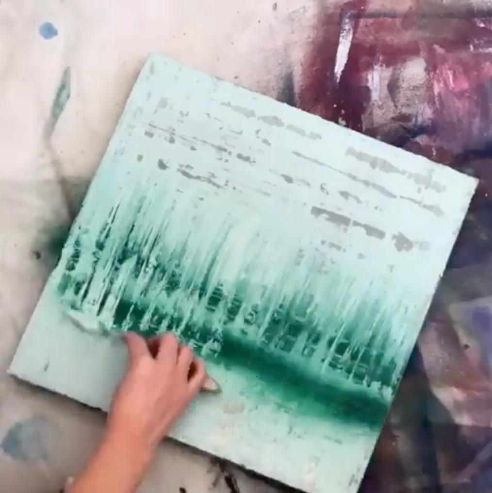 COLORSHOT Landscape Spray Paint Art Technique - pull more acrylic paint over the top