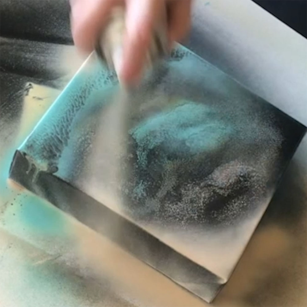 COLORSHOT Marbling Spray Paint Art Technique - spray a lighter color over the top