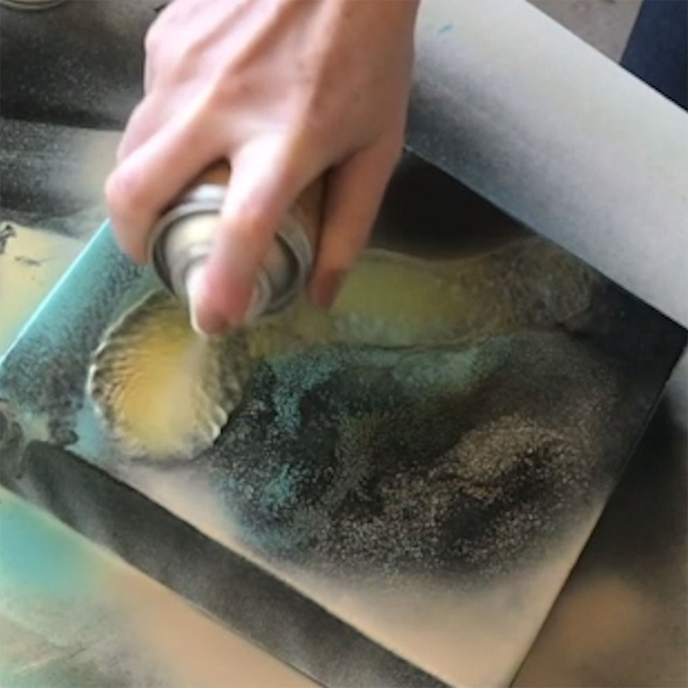 COLORSHOT Marbling Spray Paint Art Technique - spray another section of color