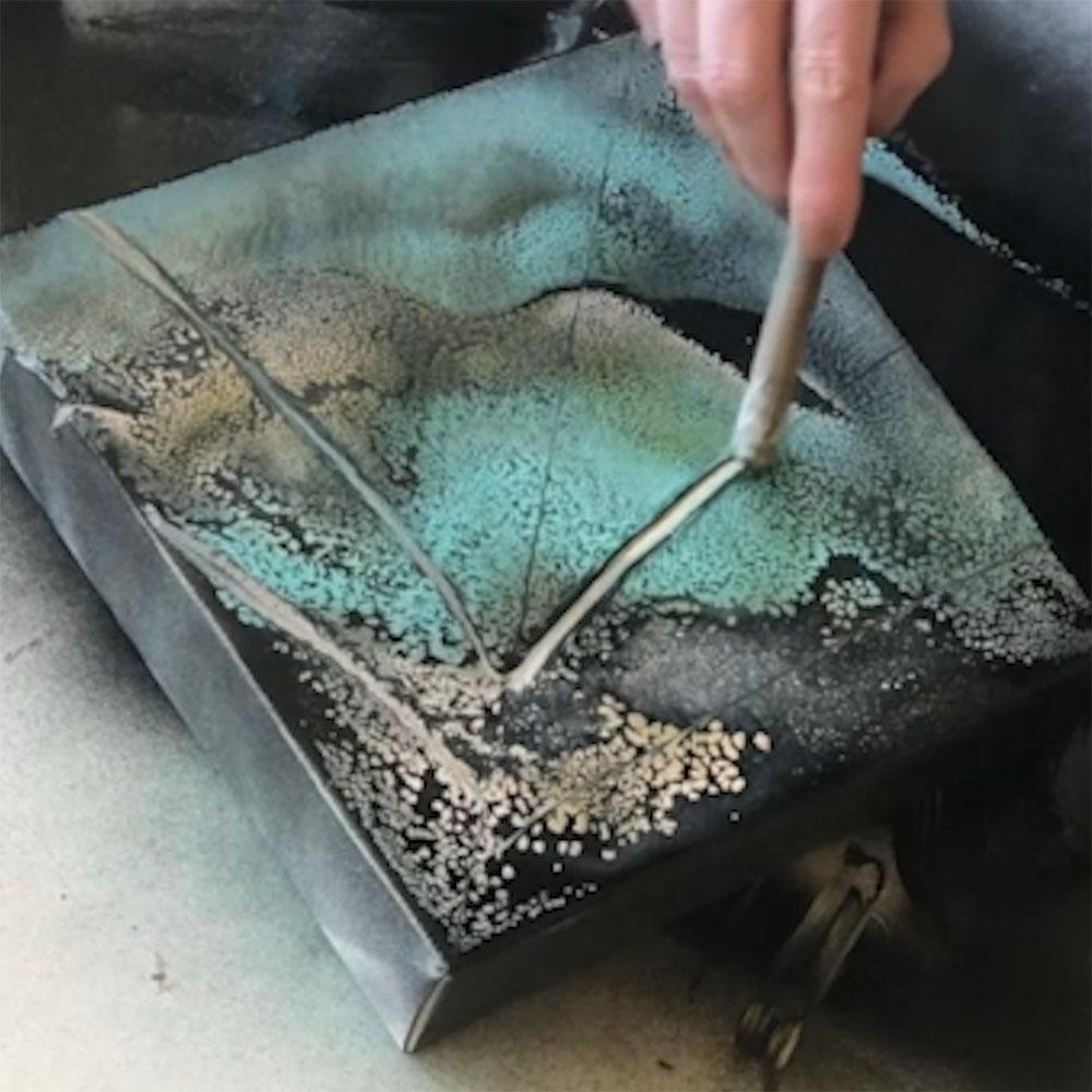 COLORSHOT Marbling Spray Paint Art Technique - use a palette knife to carve designs into paint