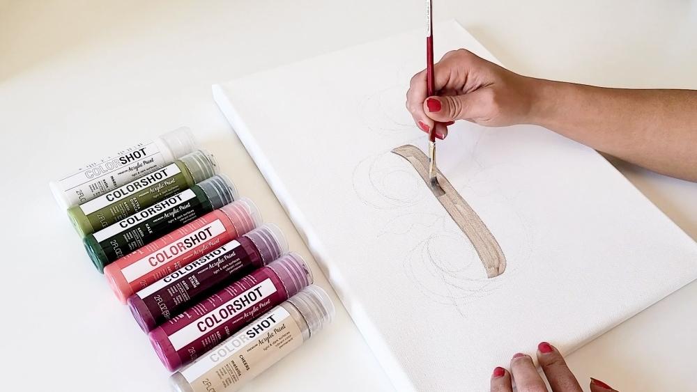 COLORSHOT Acrylic Paint Letters - letter J - sketch design with pencil