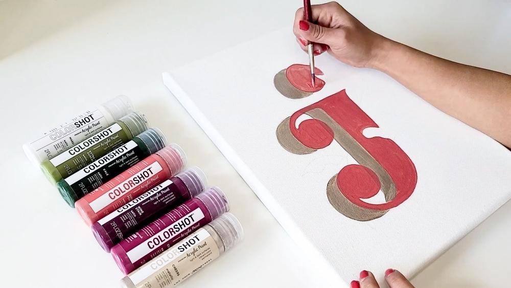 COLORSHOT Acrylic Paint Letters - letter J - paint design