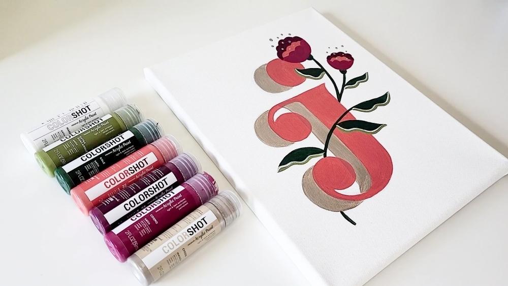 COLORSHOT Acrylic Paint Letters - letter J - let dry