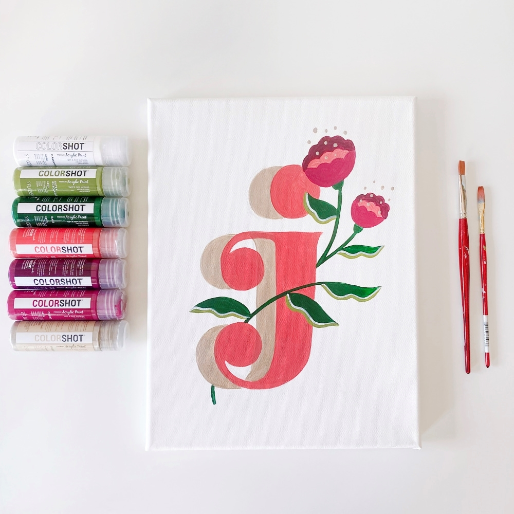 COLORSHOT Acrylic Paint Letters - letter J