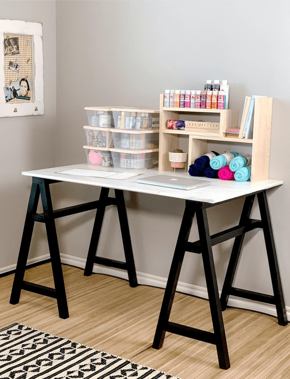 Let spray paint cure before adding shelves and fixtures