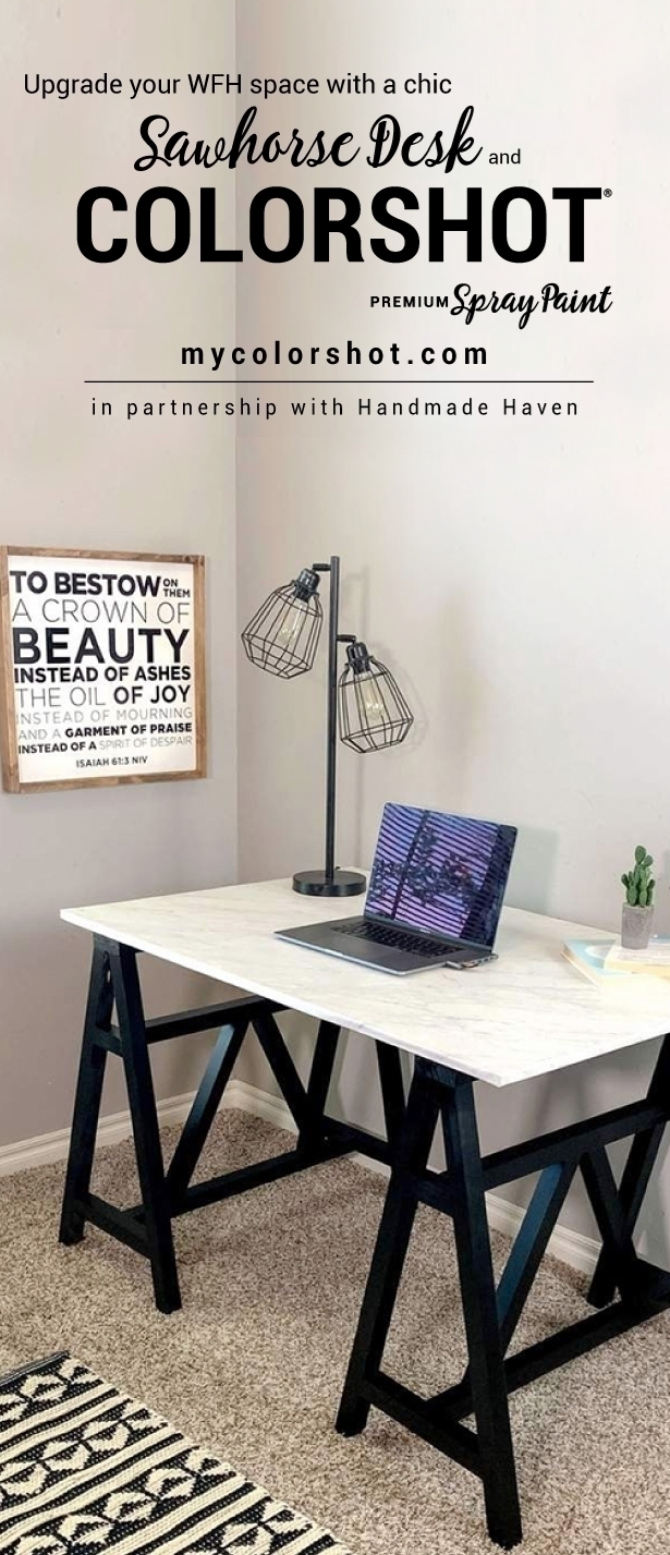 DIY Sawhorse Desk Spray Painting Project