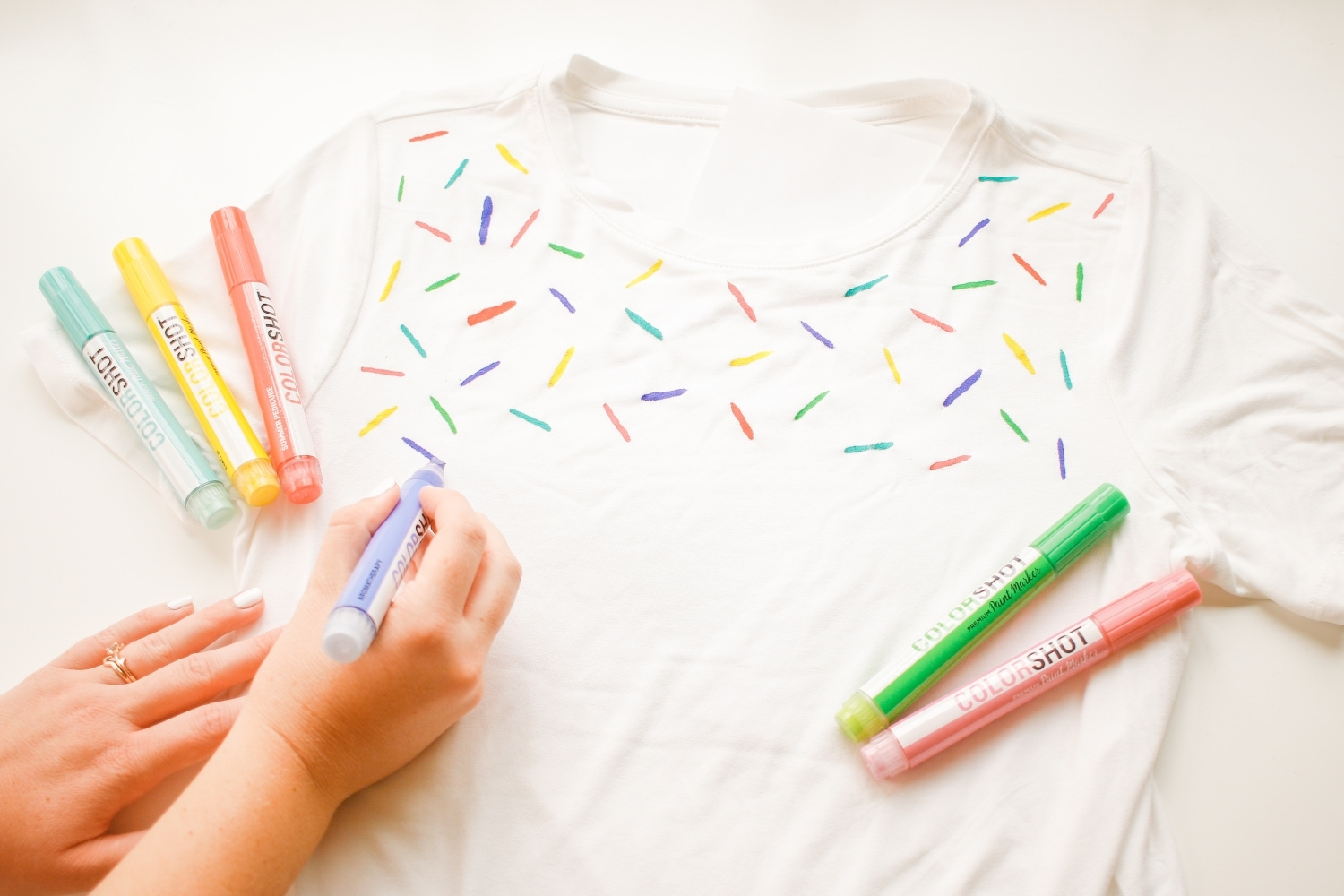 Draw sprinkles on T-shirt
