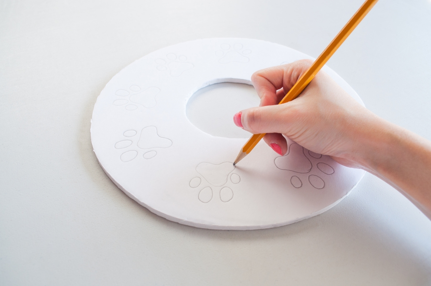 Cut out circle and sketch pawprints