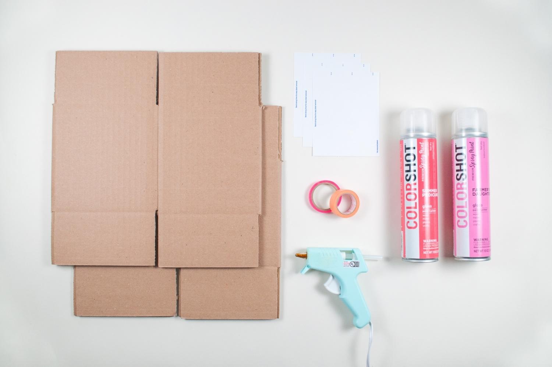 Spray paint giftwrap supplies