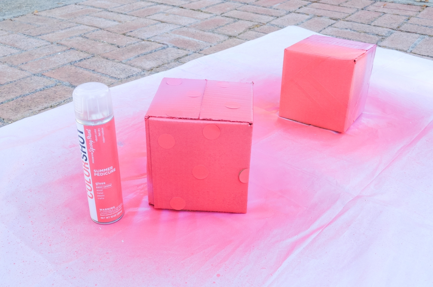 Spray paint shipping boxes