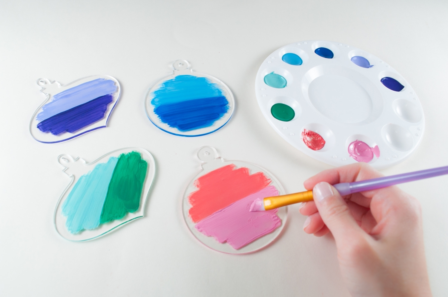 Paint ornaments with acrylic paints