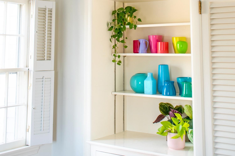 Colorful vases display