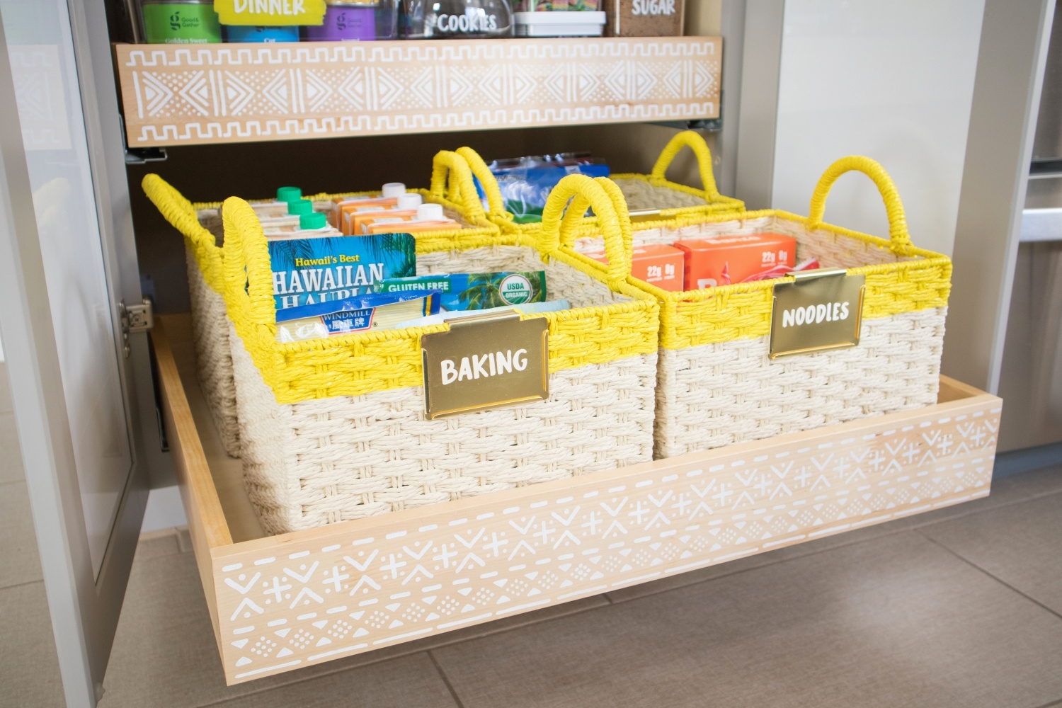 Painted and labeled kitchen storage baskets