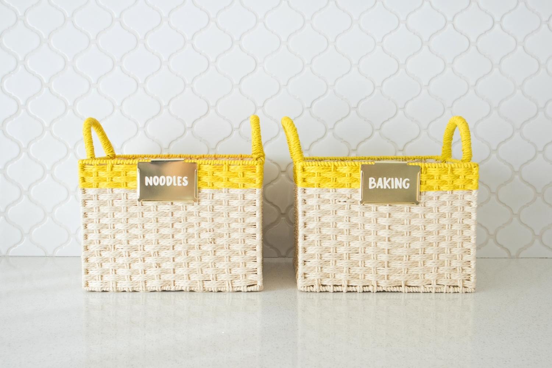 Clip labels onto baskets
