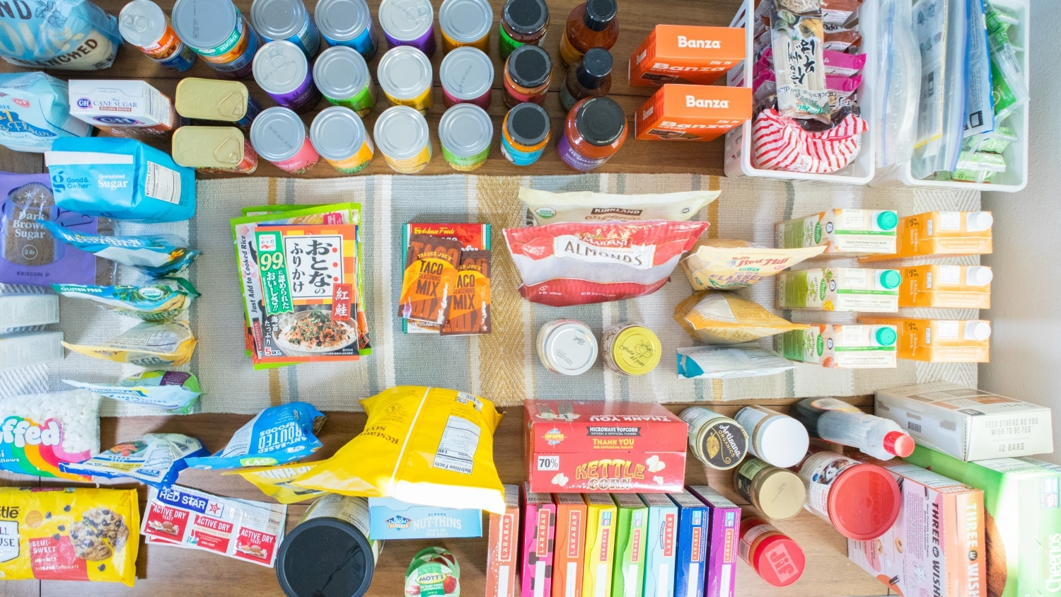 Colorful organized pantry