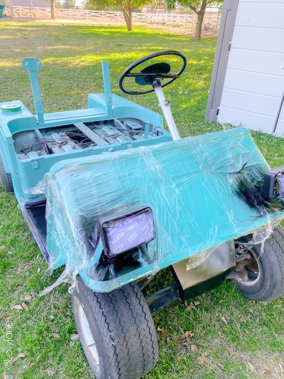 Block off sections of cart to protect from paint