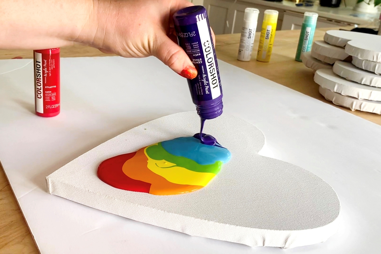 Pour paints directly from the bottles