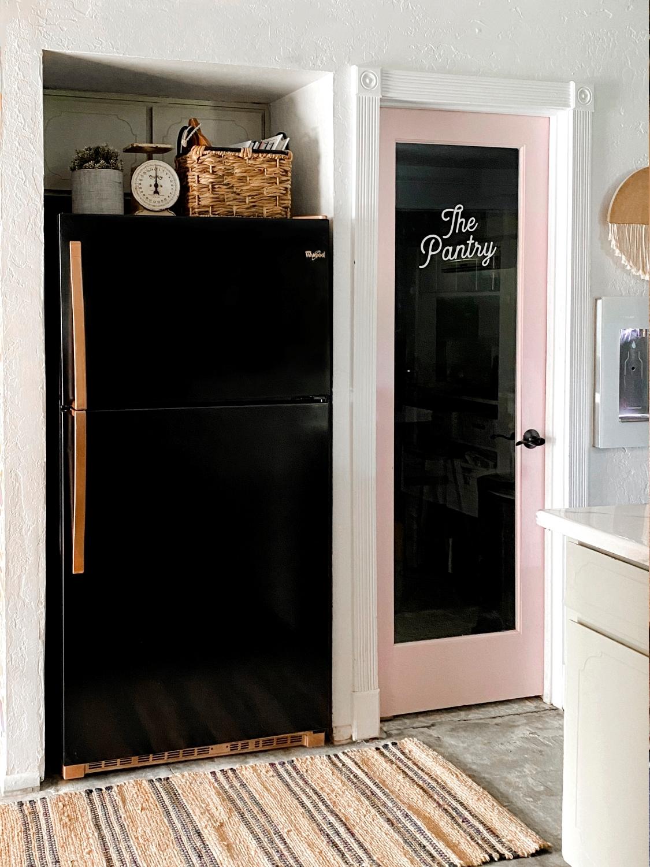 Finished spray-painted fridge