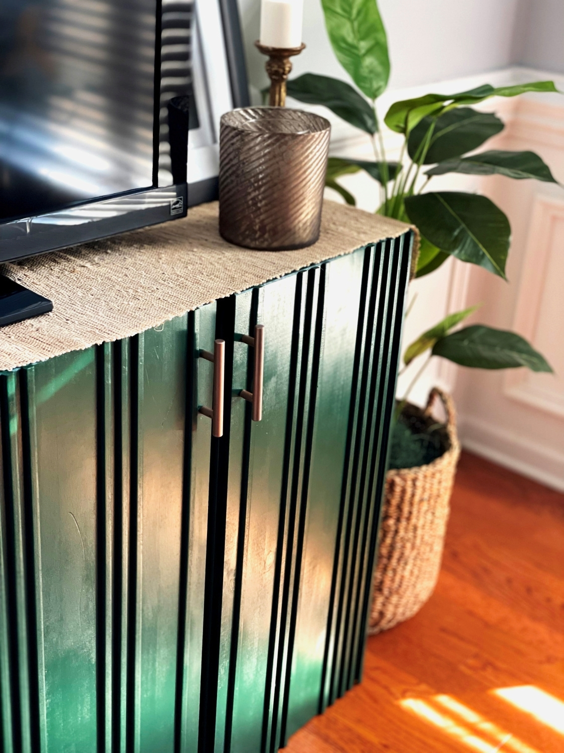 TV stand painted with COLORSHOT Spray Paint