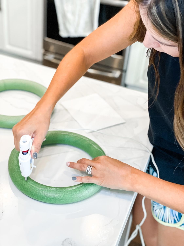 Apply glue to foam base
