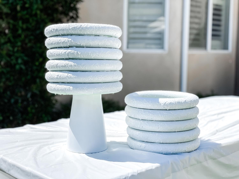 Glue foam rings to base