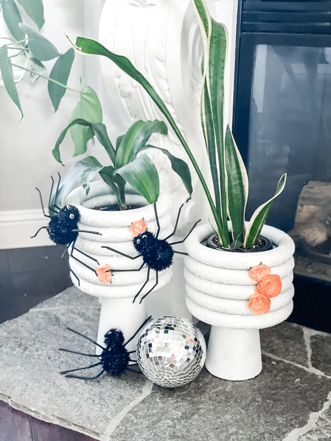 Embellish planters with Halloween items