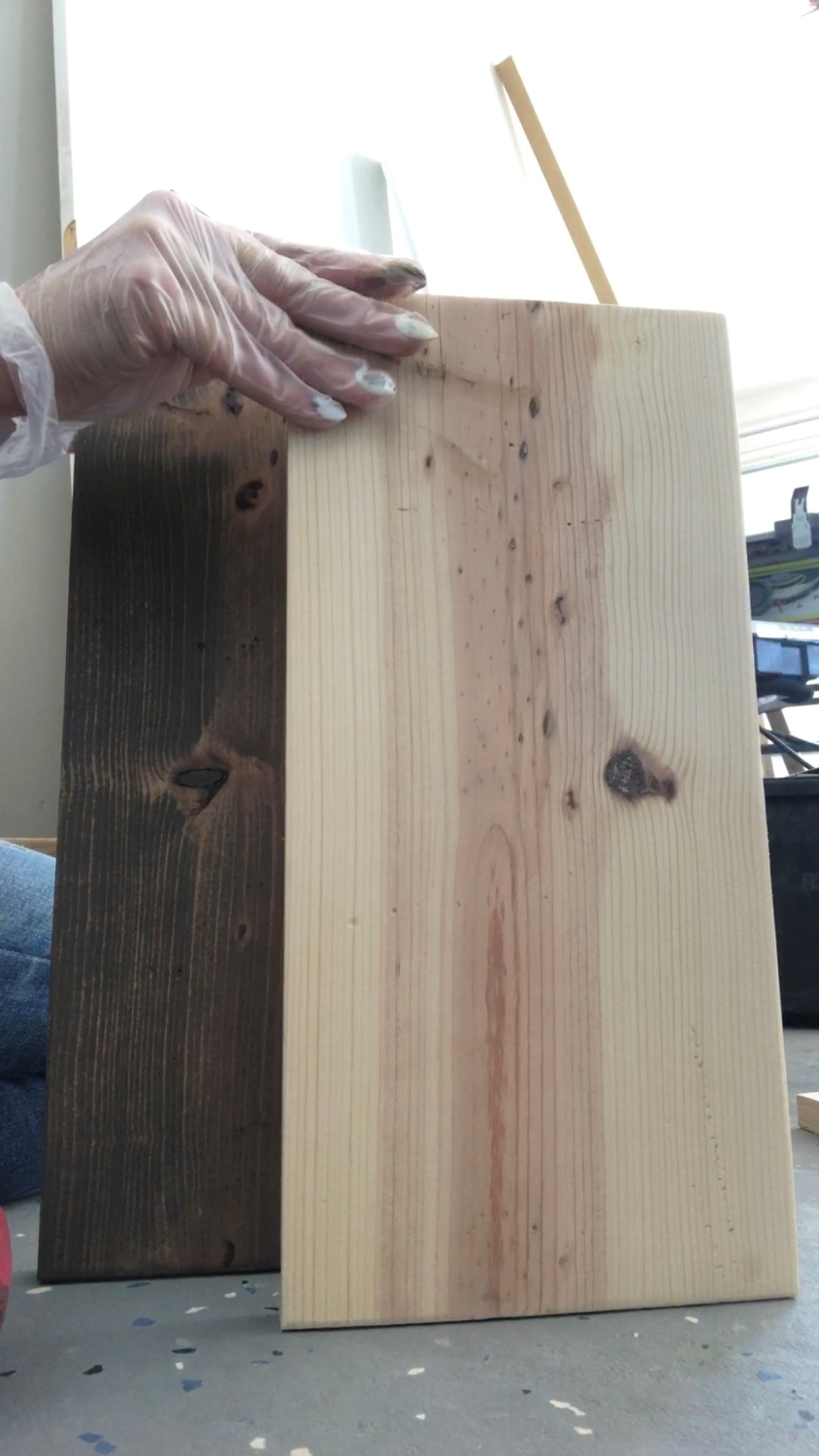 Stain or paint the wood panels